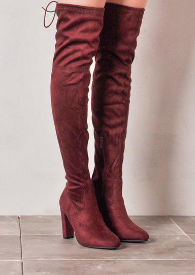 high the knee tie back faux suede boots burgundy