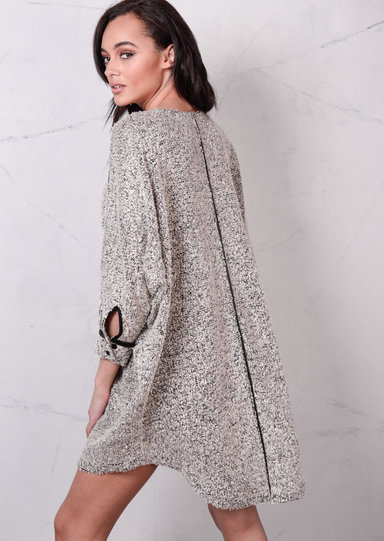Oversized Dip Hem Knitted Jumper Dress Beige