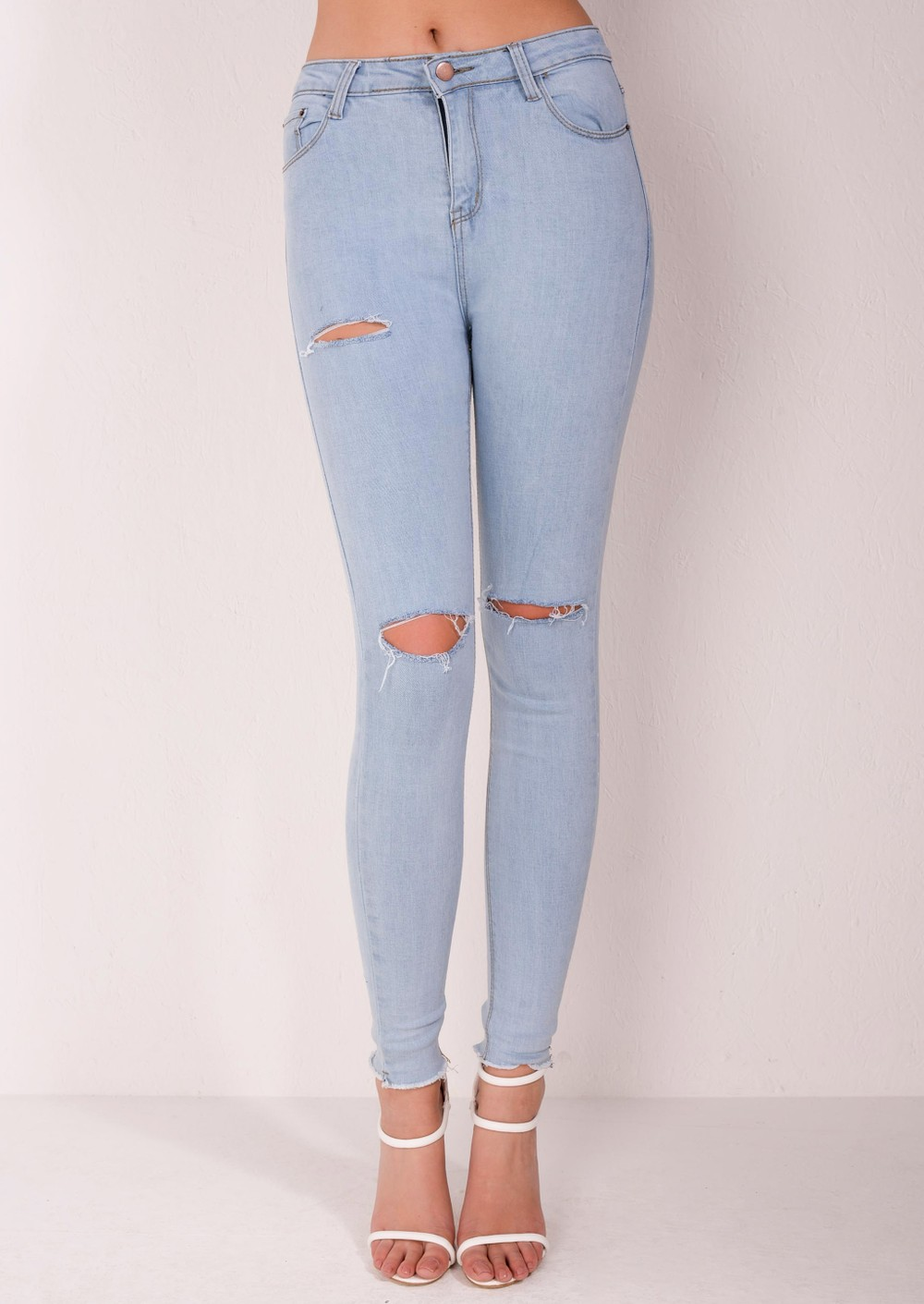 High Waisted Super Skinny Knee Ripped Jeans Light Blue