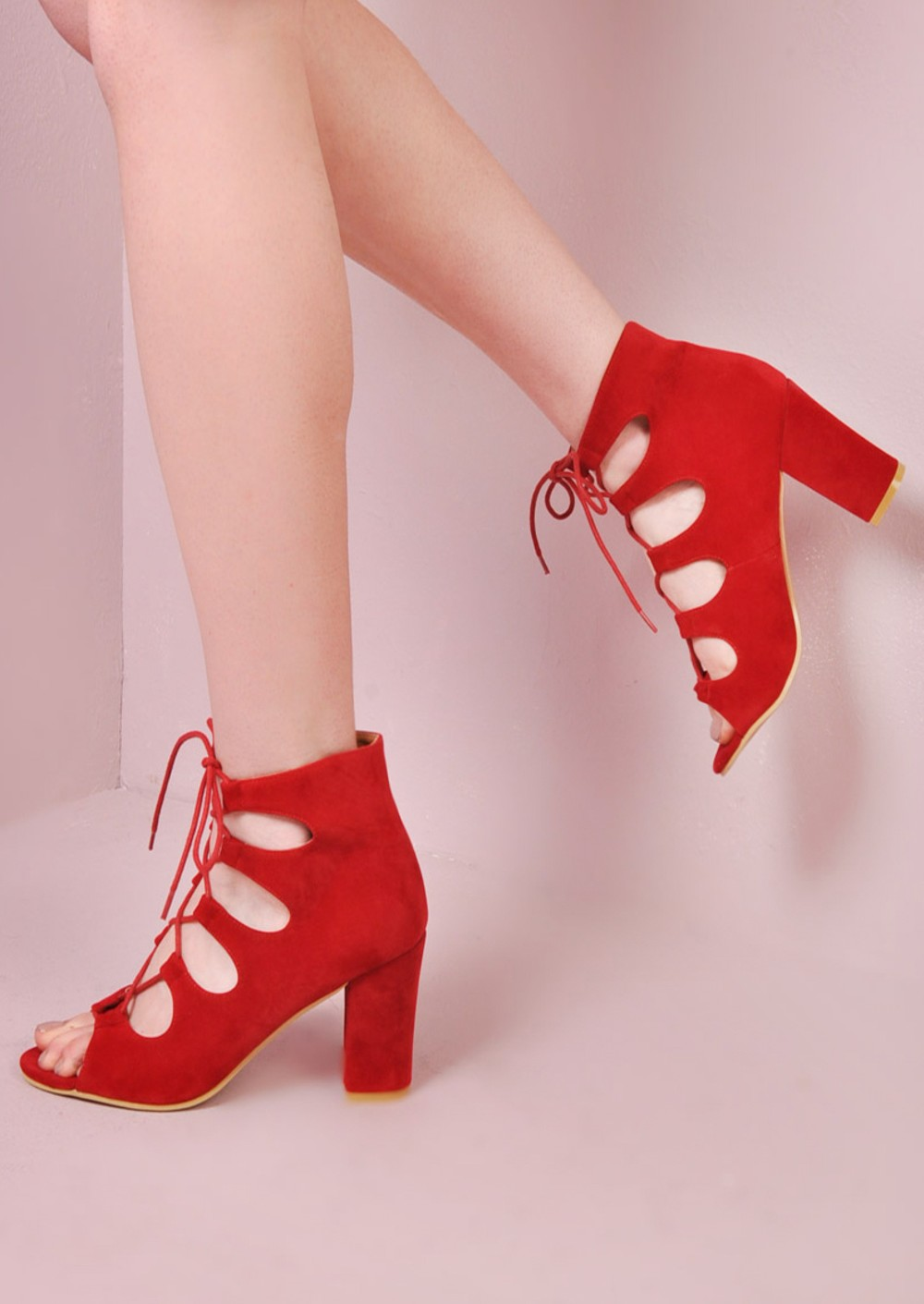 Open Toe Lace Up Faux Suede Sandals Red