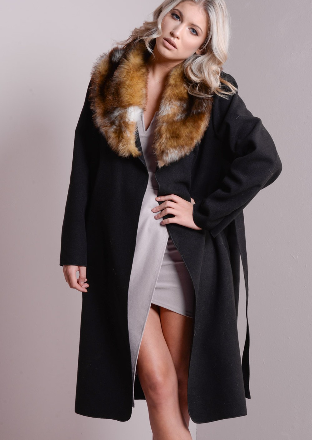 Faux Fur Collar Oversized Longline Coat Black