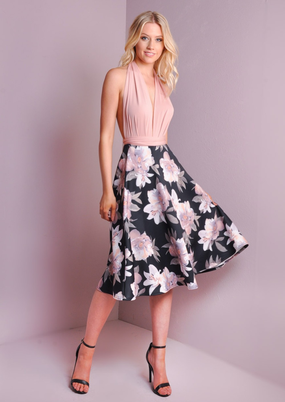 Flared Floral Print Midi High Waisted Skater Skirt Black