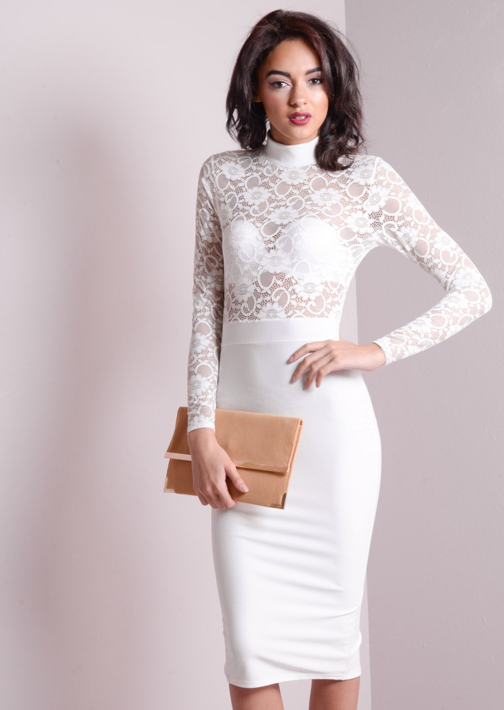 high neck lace insert mesh bodycon midi dress white