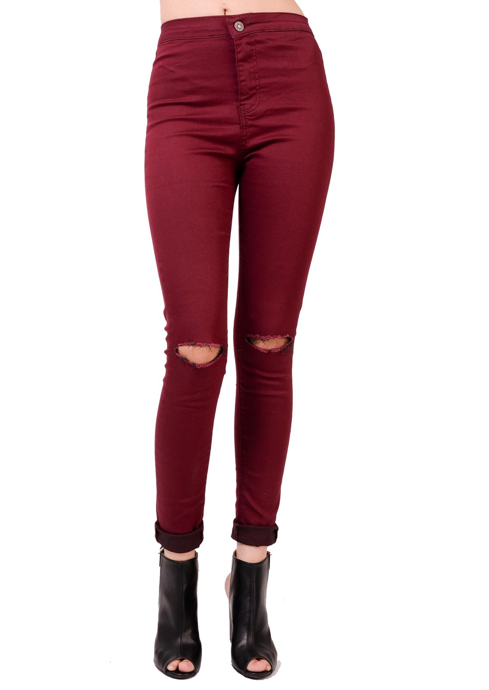 shop now · Home · Clothing · Ripped & Skinny Jeans; High Waisted ... - High Waisted Knee Ripped Super Skinny Jeans Burgandy