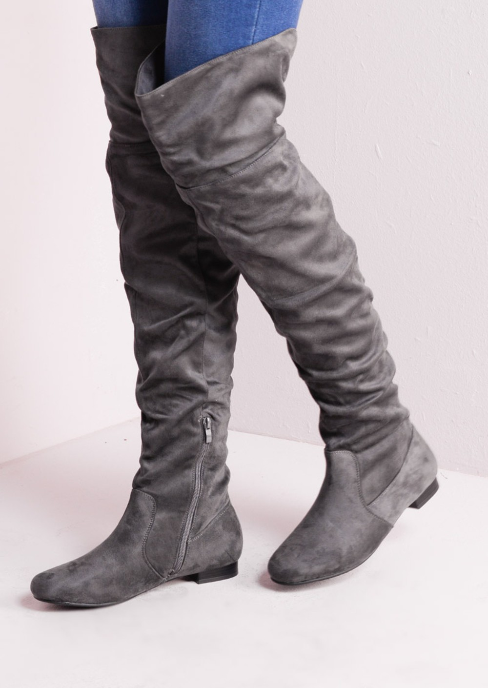 Over The Knee Flat Long Boots Suede Grey