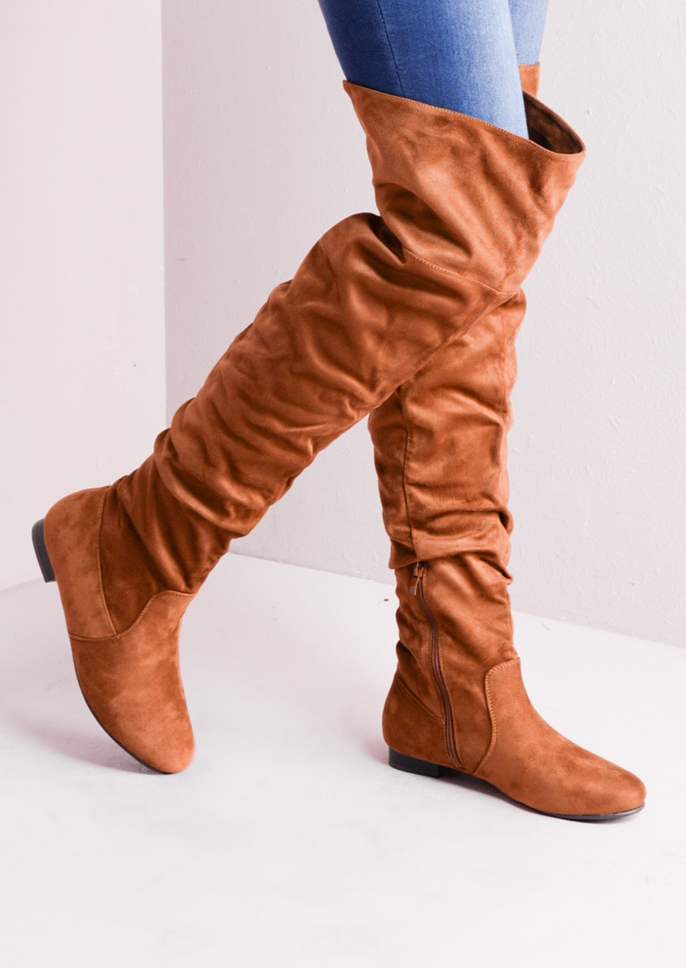 Over The Knee Flat Long Boots Suede Tan