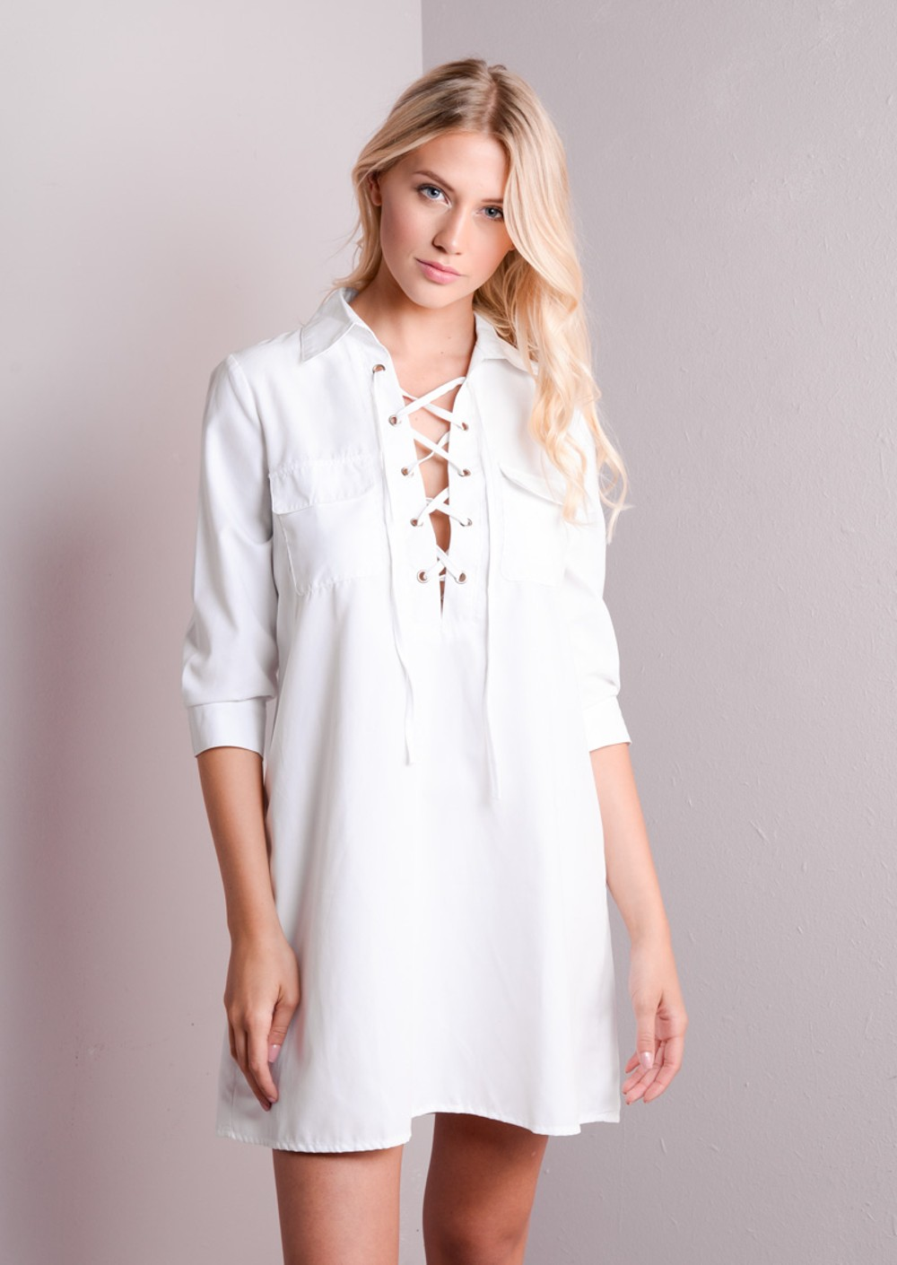 Lace up front shirt dress white for The best white dress shirt