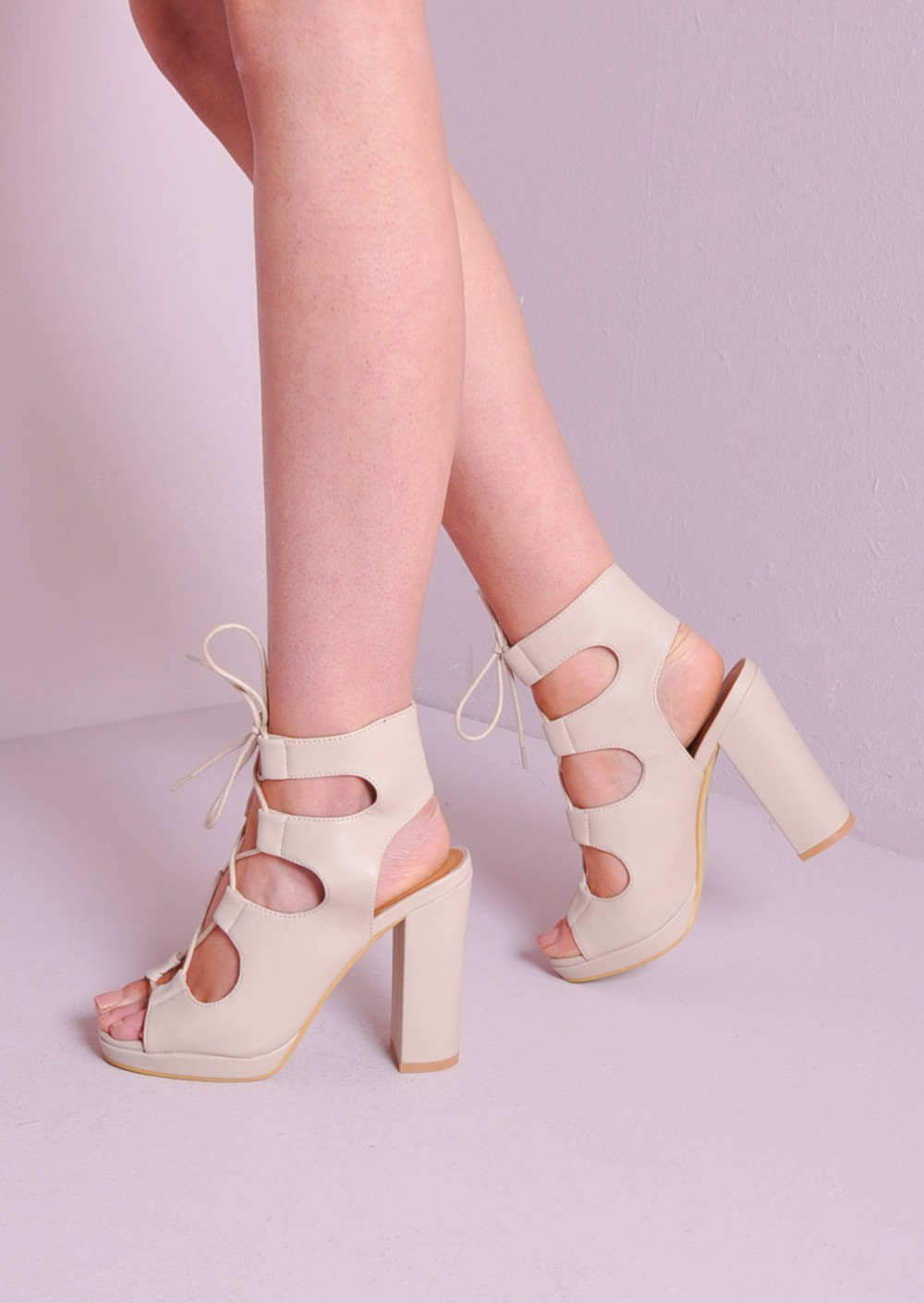 Lace Up Gladiator Block Platform Heel Sandals Shoes Nude