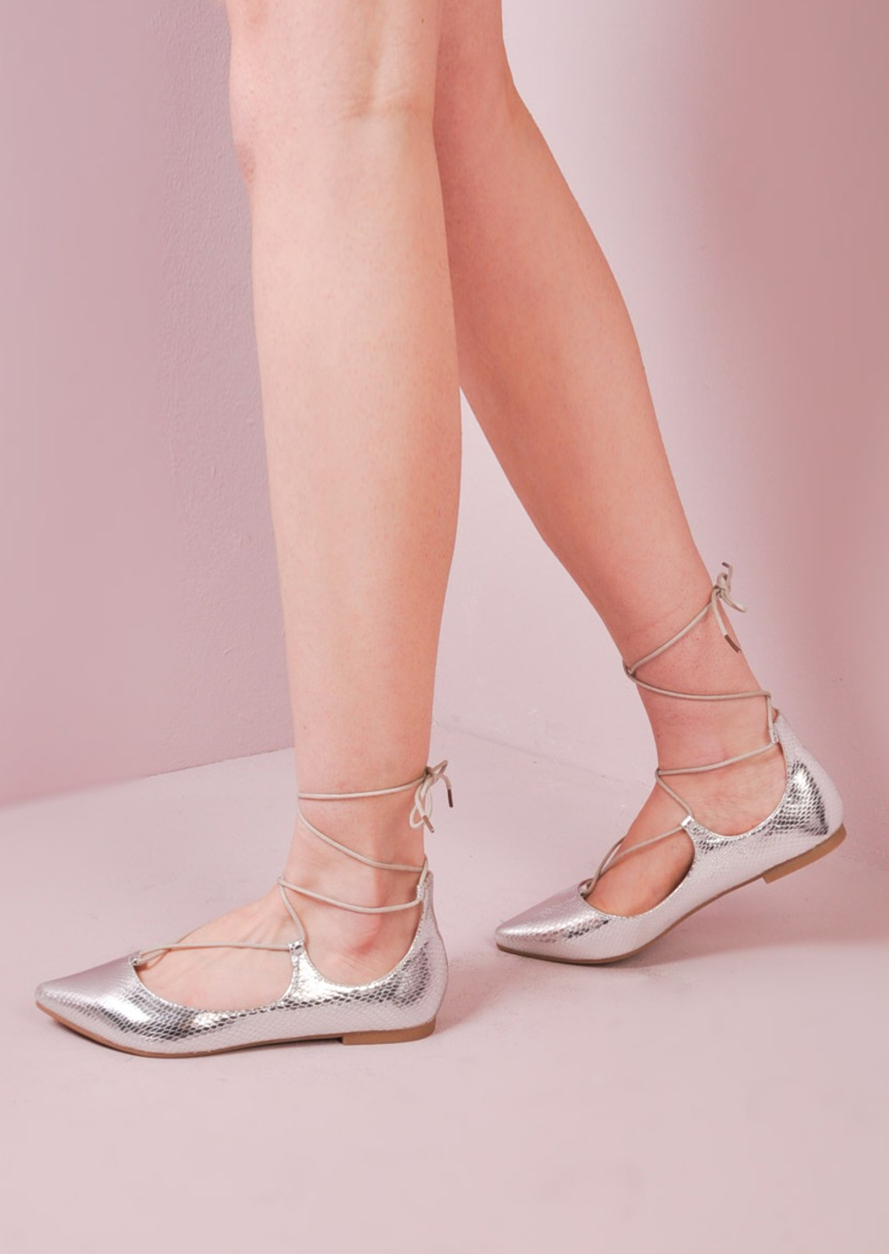 Silver Flat Going Out Shoes