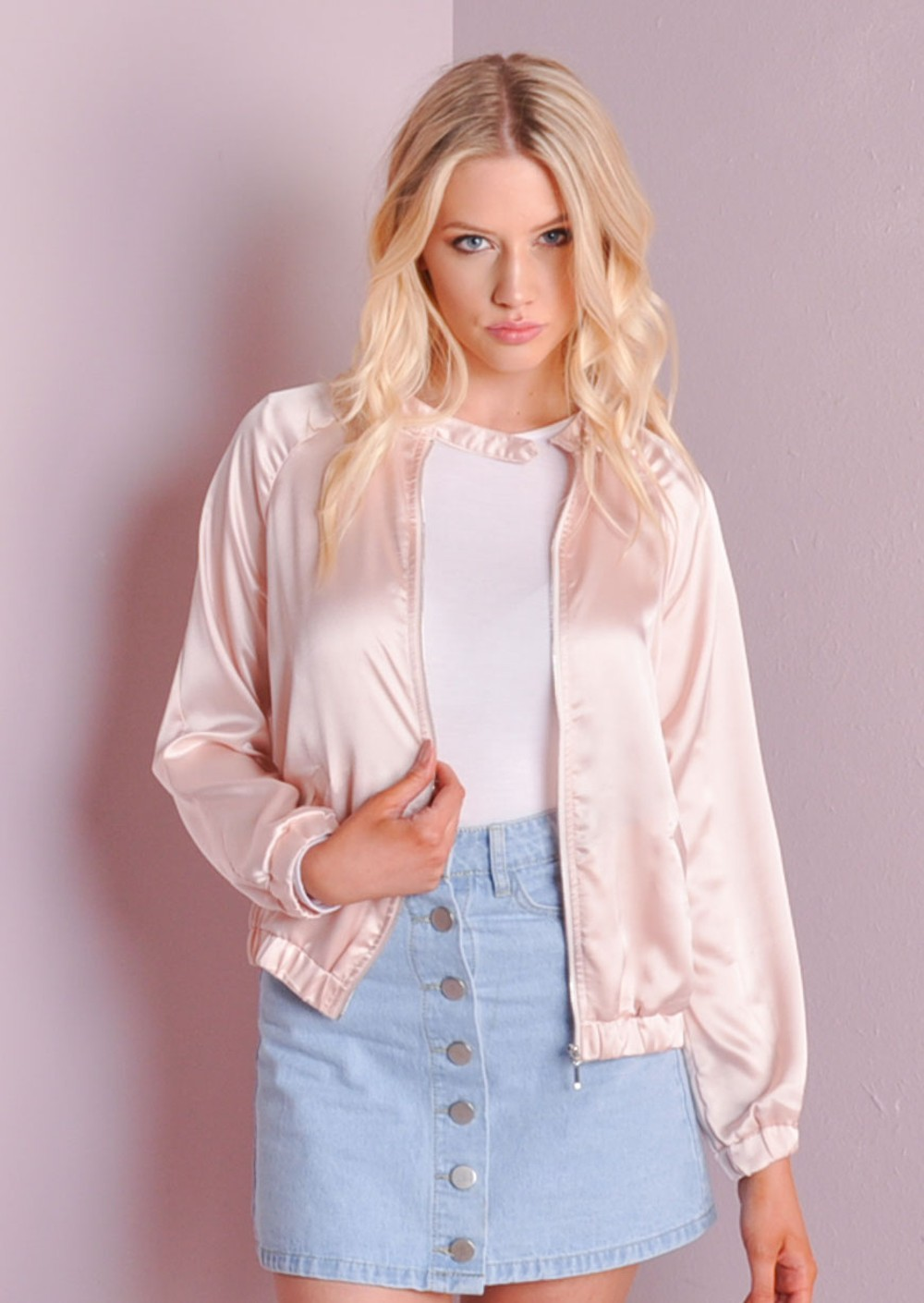 MA-1 Satin Zip Up Light Weight Satin Bomber Jacket Pink
