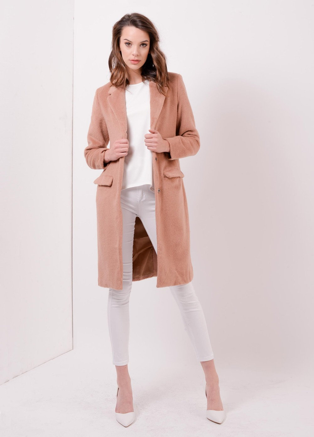 Oversized Blush Pink Coat Pella