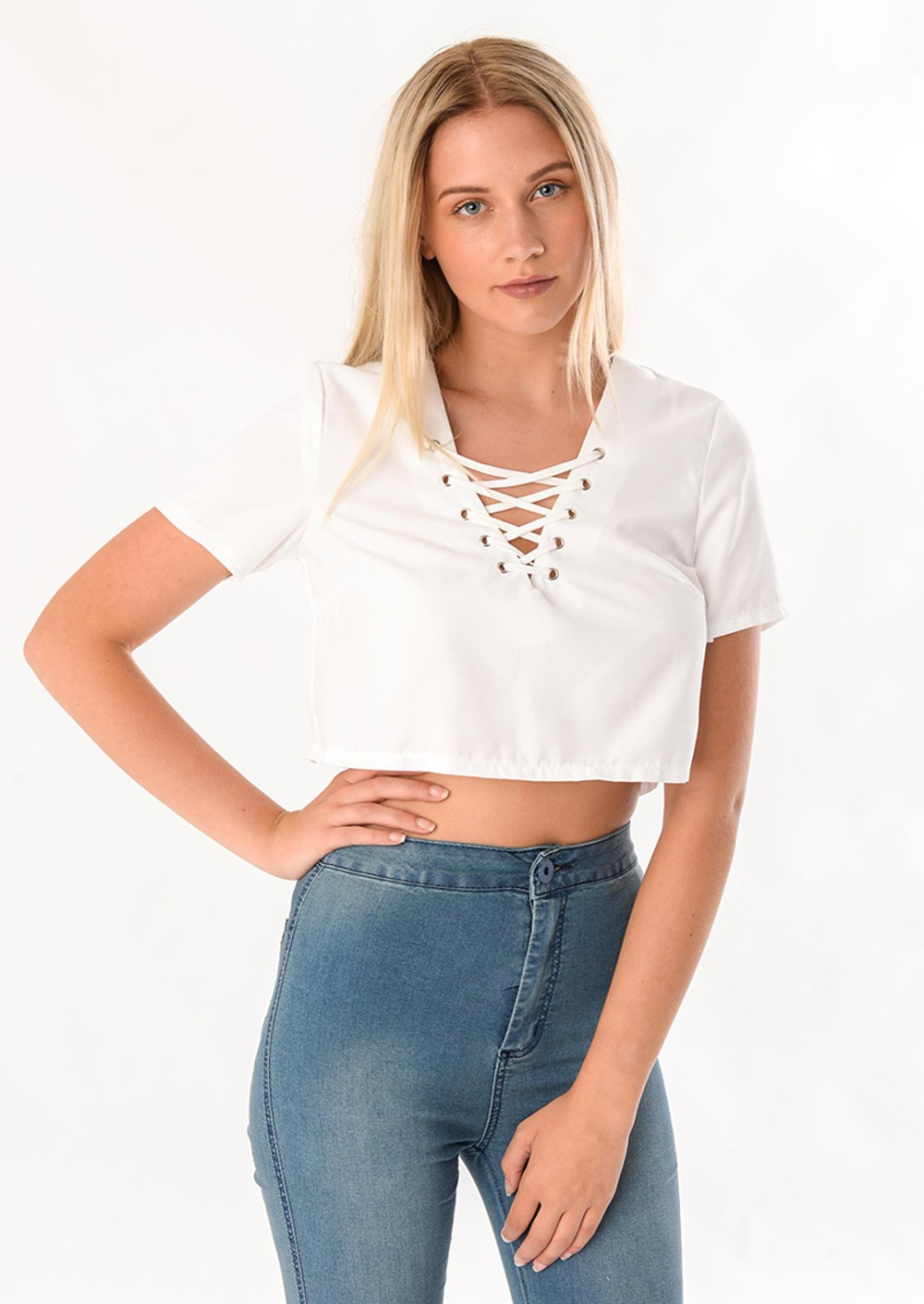 Pipper White Lace Up Front Cropped Shirt Top