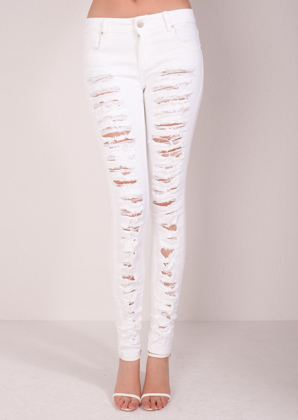 Mid Rise Multi Ripped Skinny Denim Jeans White