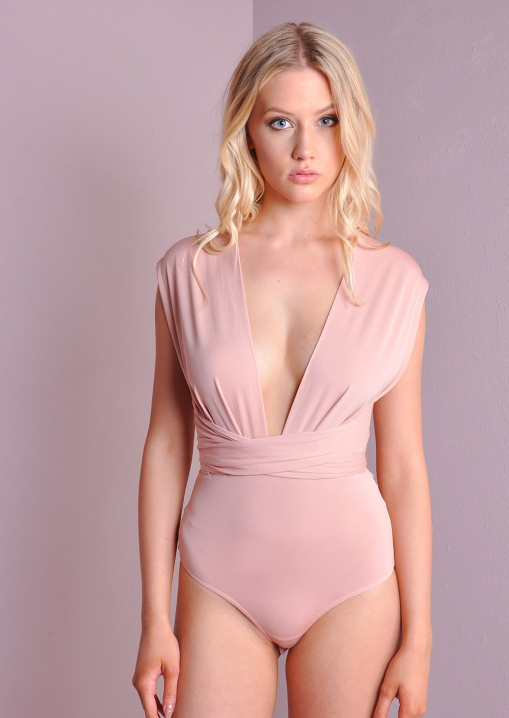 V-Neck Soft Slinky Multiway Bodysuit Top Rose Pink
