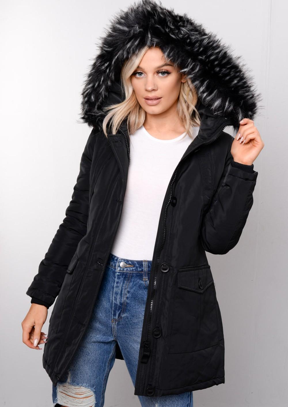 Detachable Hooded Faux Fur Zip Long Parka Coat Black