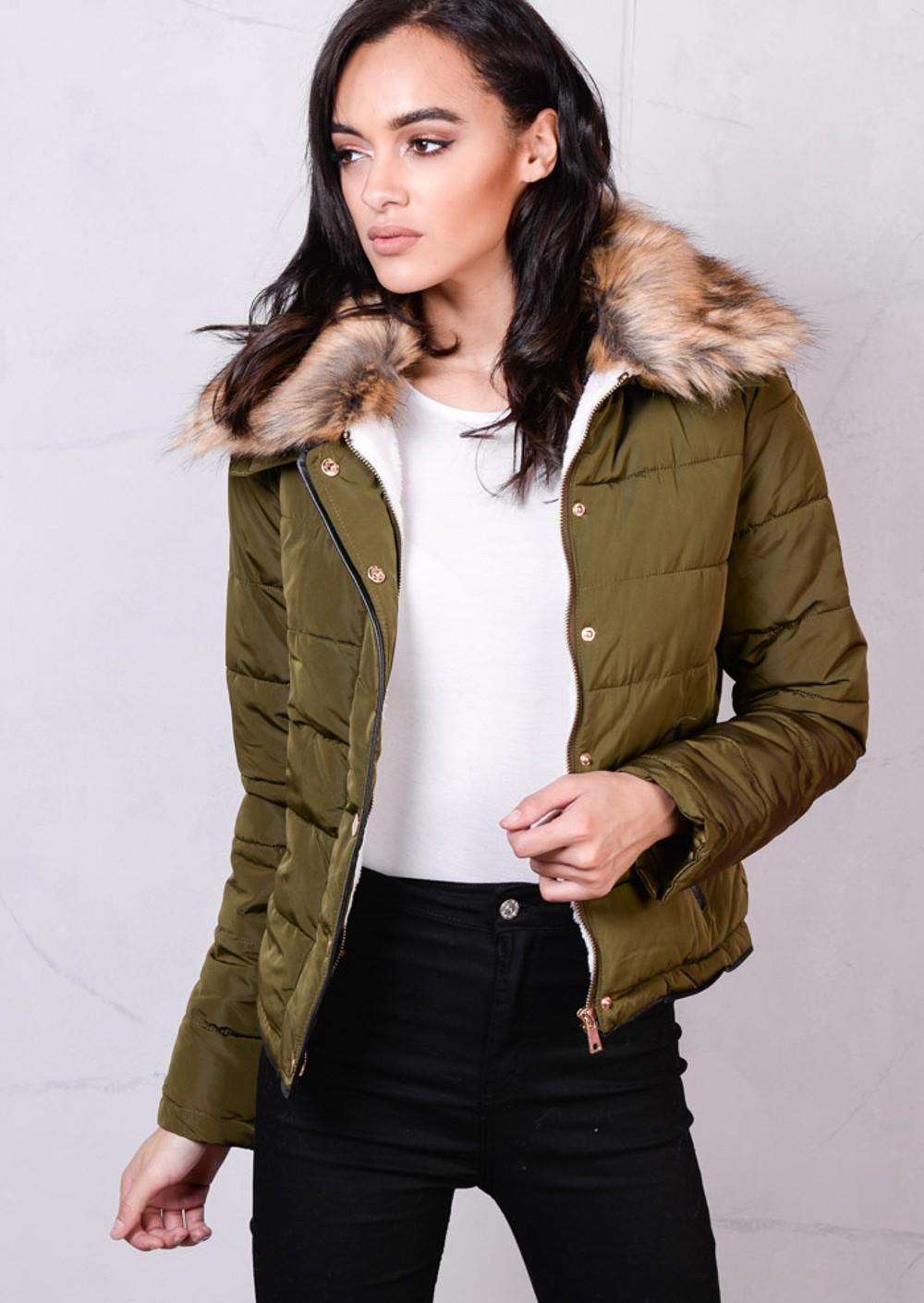 Brown Faux Fur Collar Quilted Fleece Padded Puffer Jacket Coat Khaki Green - Women's Puffer Jackets Puffa Jackets Lily Lulu Fashion