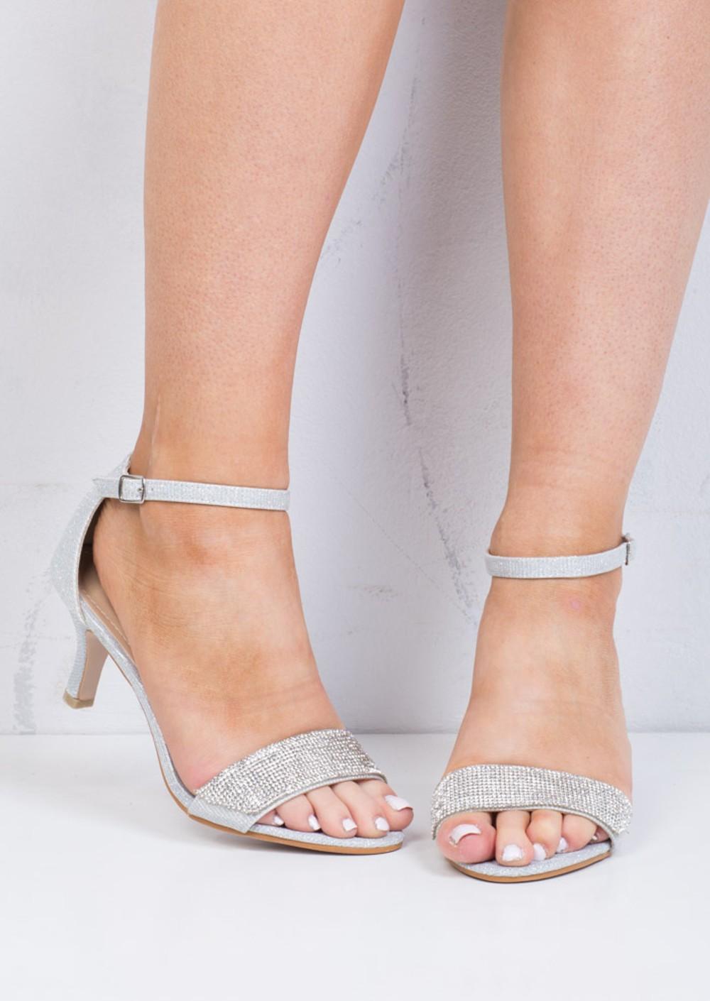 Kitten Heeled Silver Shoes