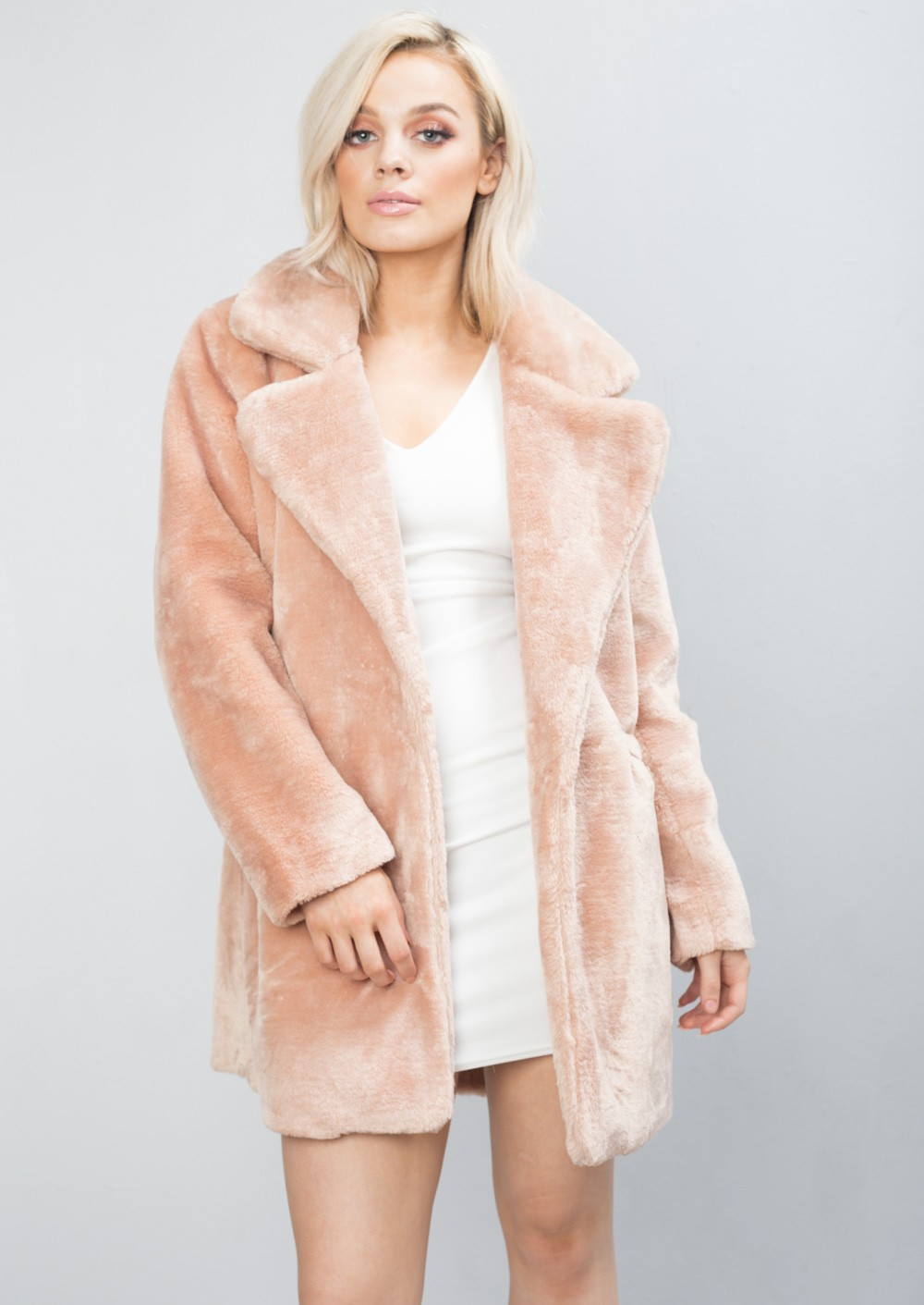 Soft Faux Fur Coat Shaggy Fully Lined Tailored Jacket Pink