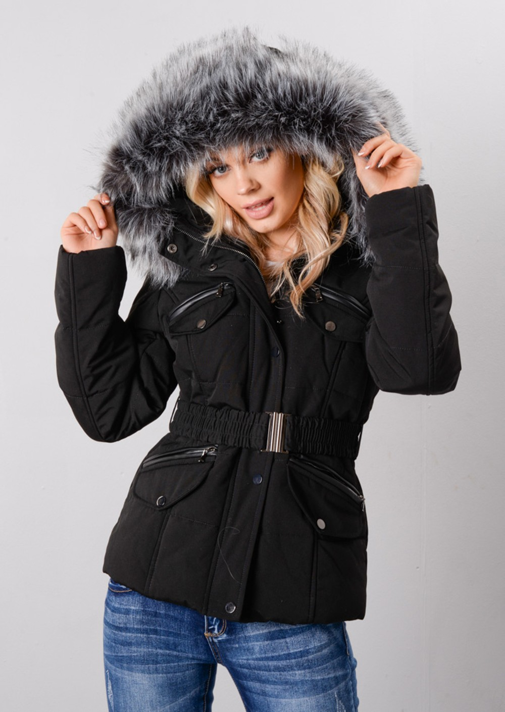 Faux Fur Hooded Detachable Belt Zip Puffer Coat Black