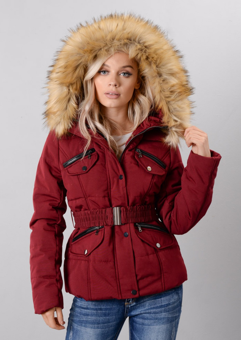 Faux Fur Hooded Detachable Belt Zip Puffer Coat Wine Burgundy Red