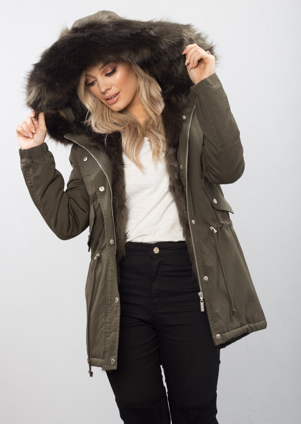Faux Fur Hooded Fully Lined Parka Coat Khaki Green