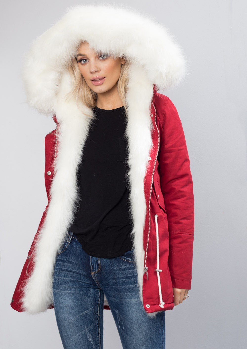 White Faux Fur Hooded Fully Lined Parka Coat Red