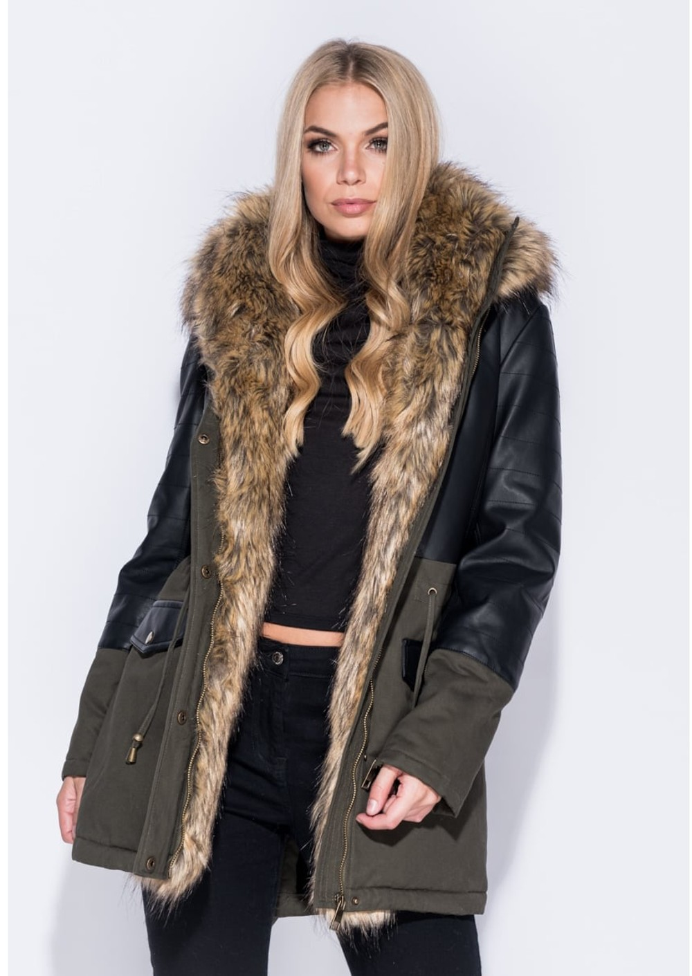 Faux Leather Panel Fur Trim Parka Coat Khaki Green