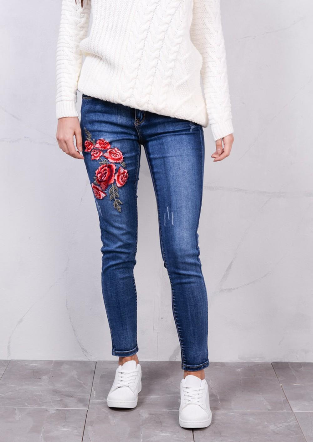 Floral embroidered mid rise skinny denim jeans blue