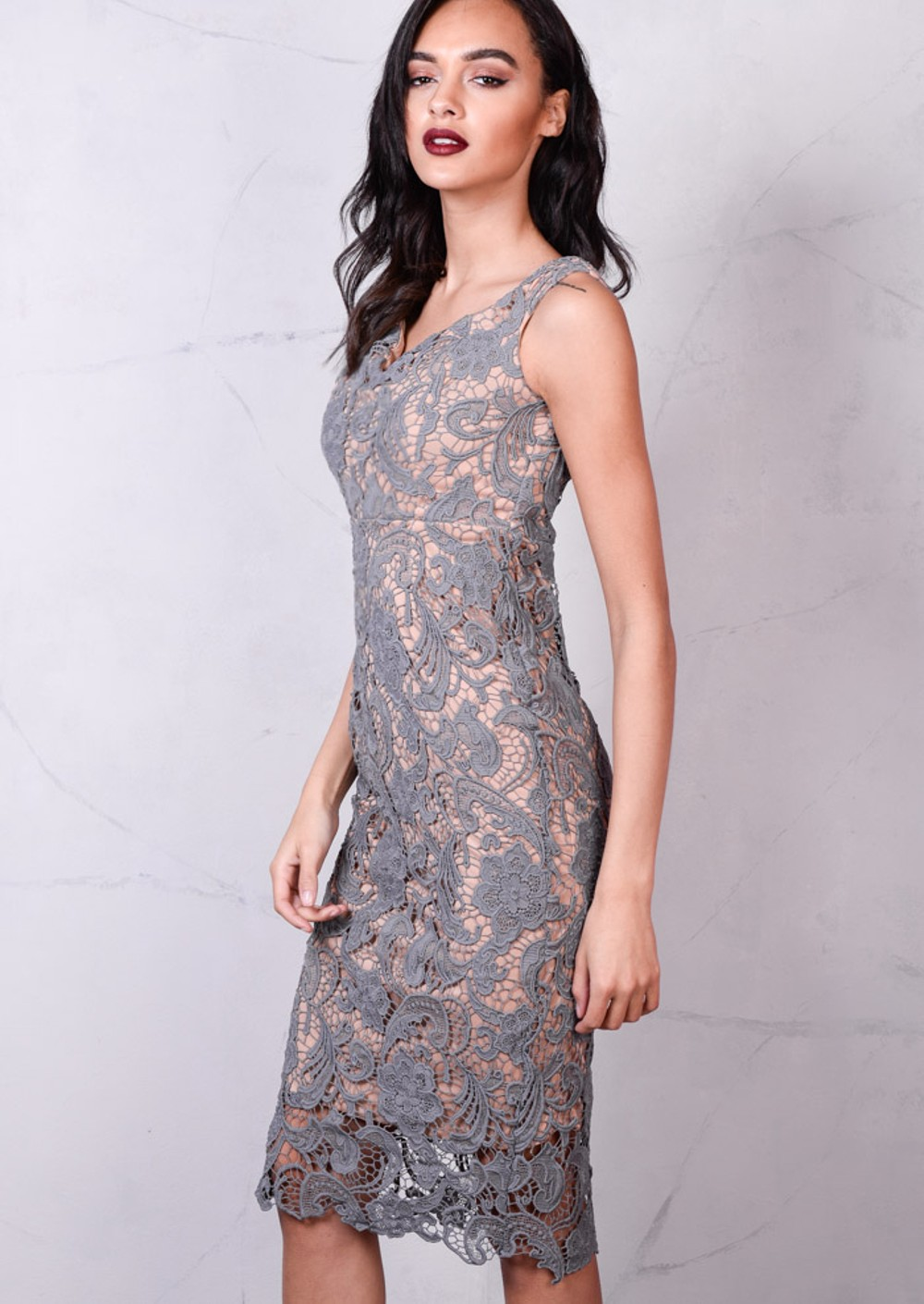 Floral Patterned Lace Fitted Bodycon Midi Dress Grey