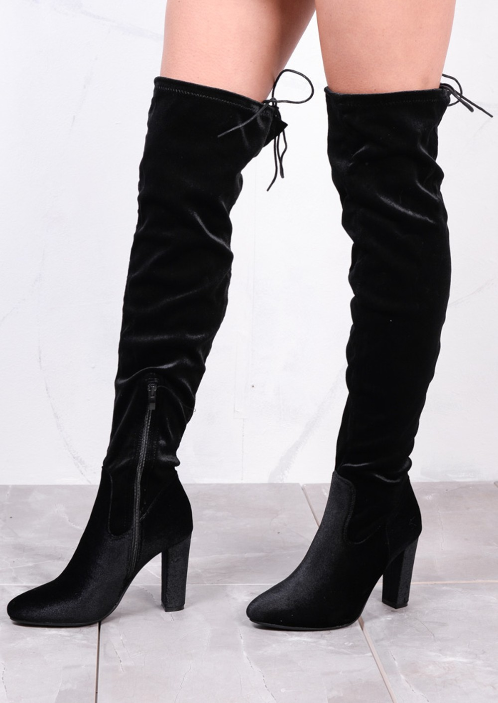 High Over The Knee Tie Back Boots Velvet Black