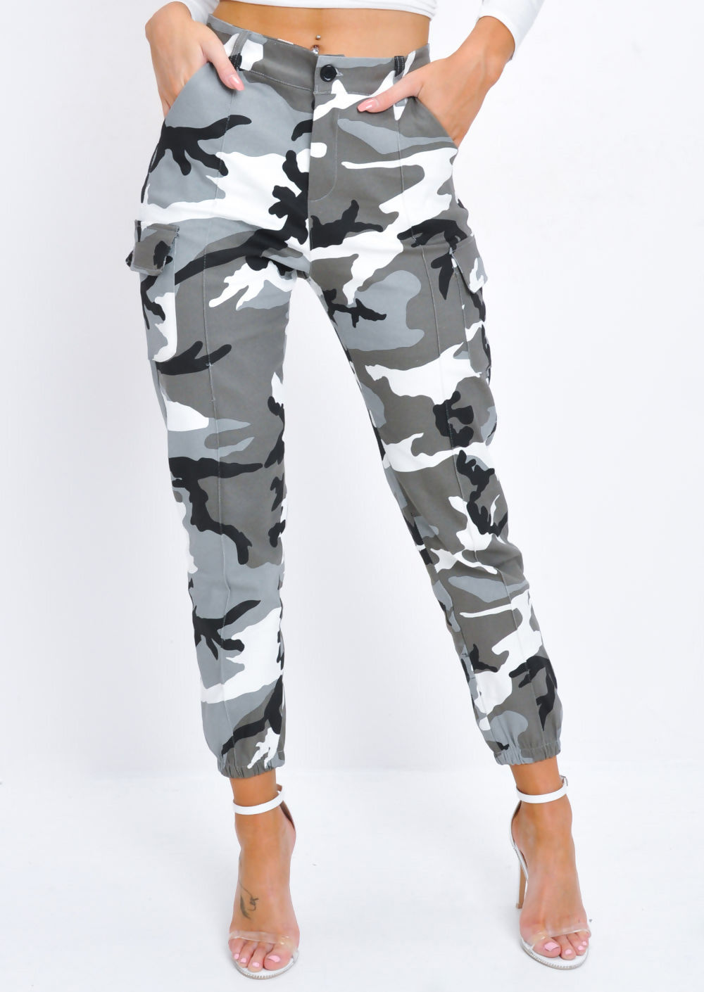 a996498df967 High Waisted Utility Cargo Trousers Camo Grey