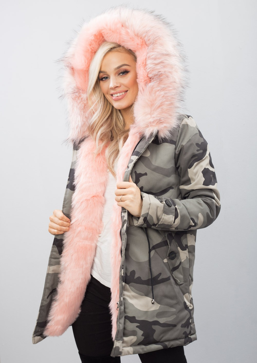 Pink Faux Fur Hooded Padded Parka Camo Khaki Coat Green