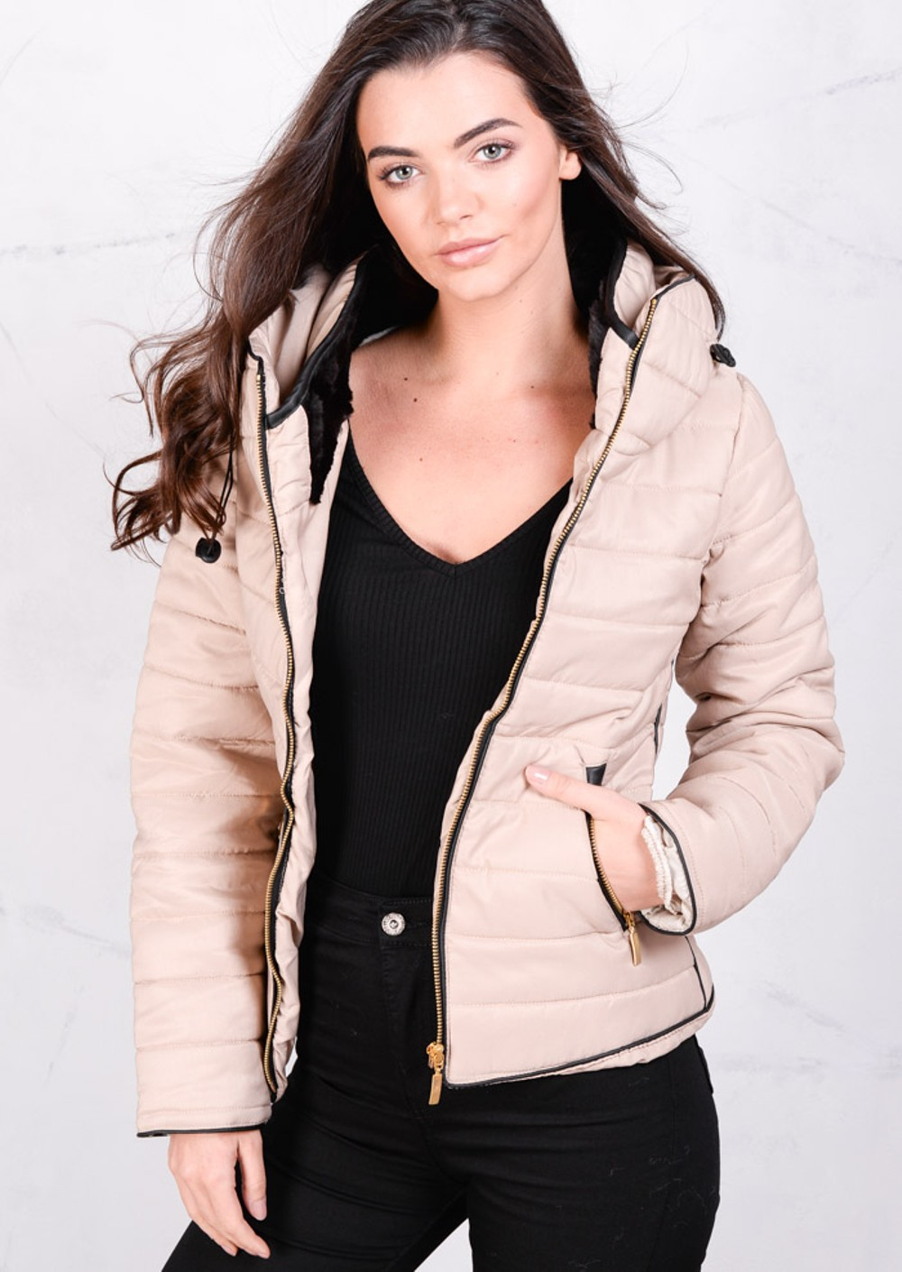 Lightweight Quilted Puffer Padded Jacket Coat Stone Beige : lightweight quilted coat - Adamdwight.com