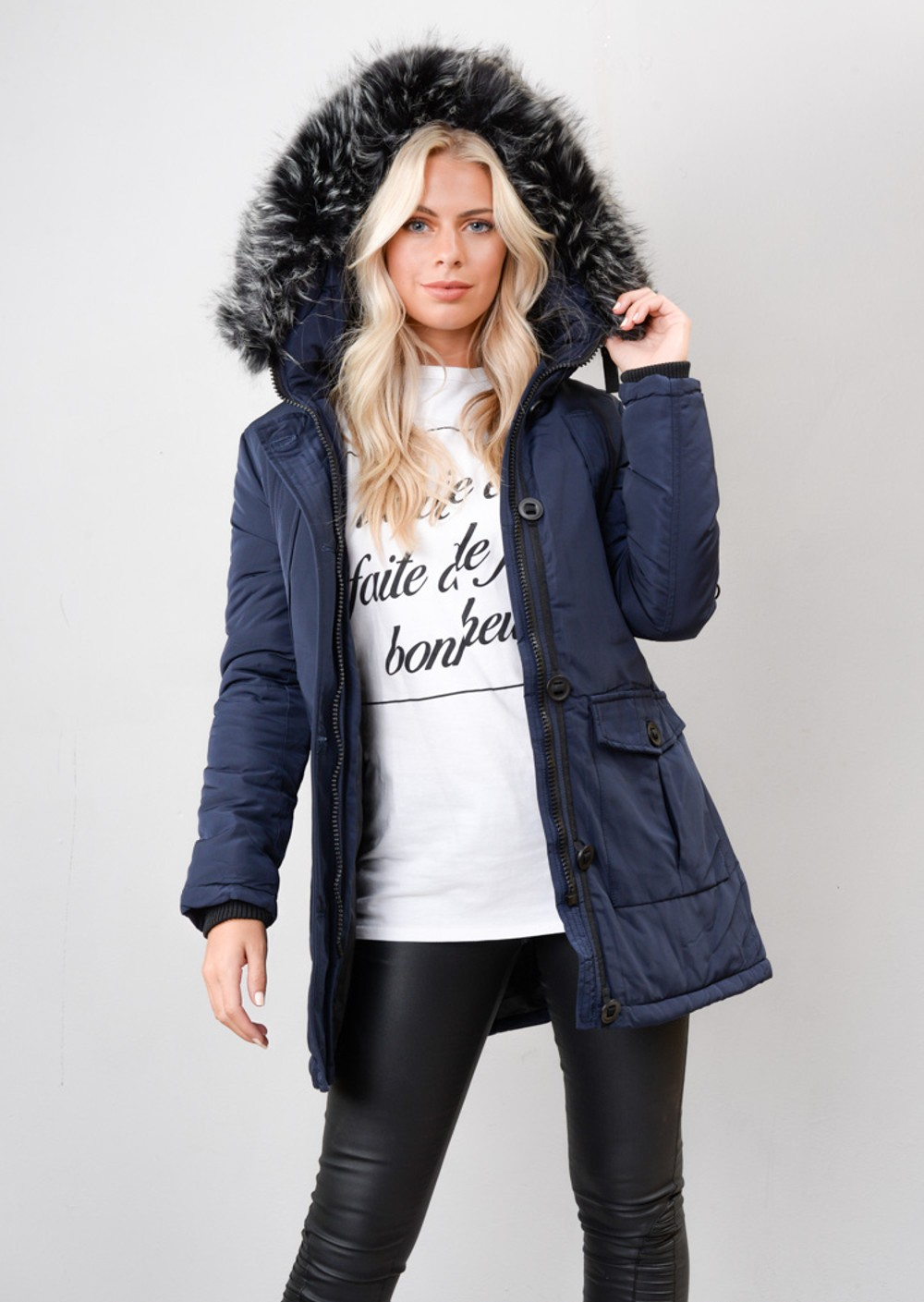 Detachable Hooded Faux Fur Zip Long Parka Coat Navy Blue