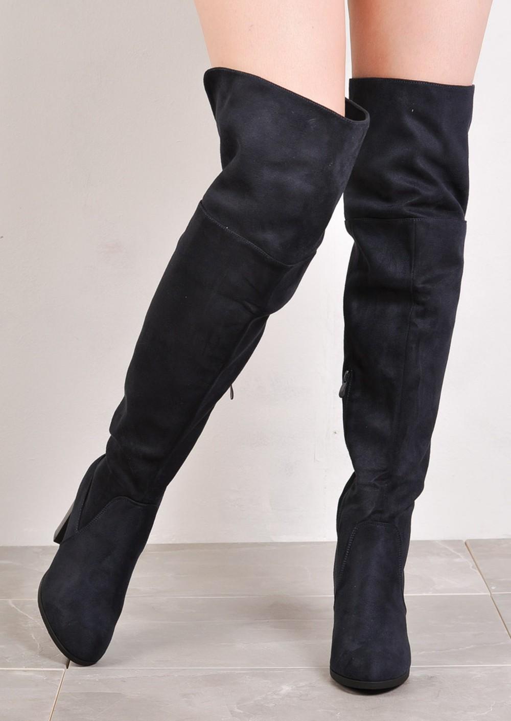 the knee block heel open back suede heeled boots navy
