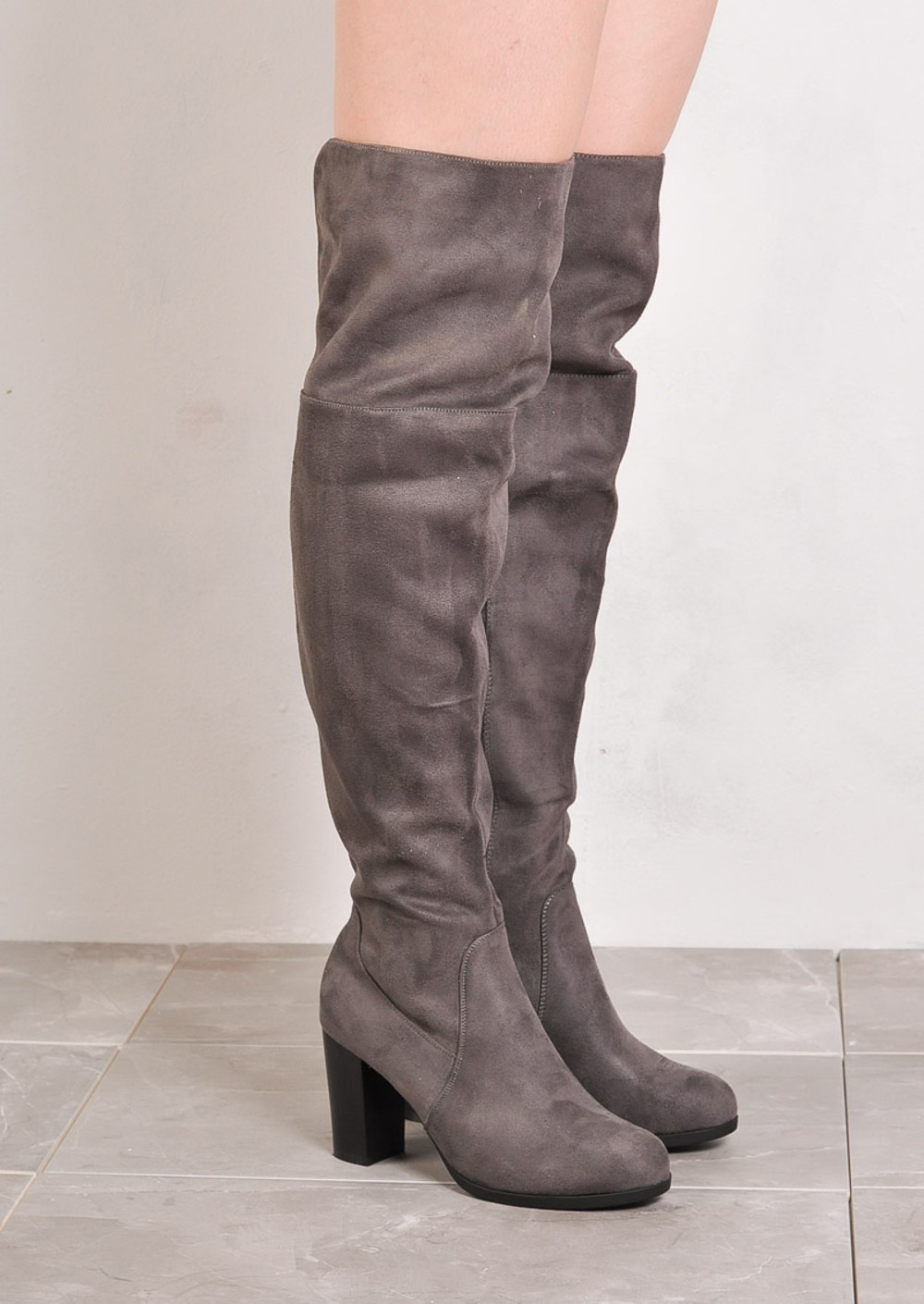 the knee block heel open back suede heeled boots grey