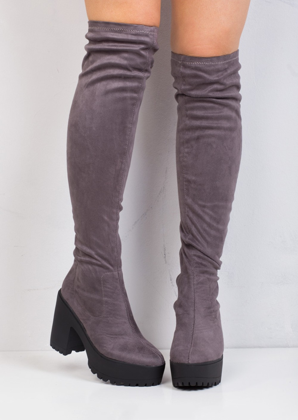 Knee High Platform Cleated Over The Knee Chunky Faux Suede ...