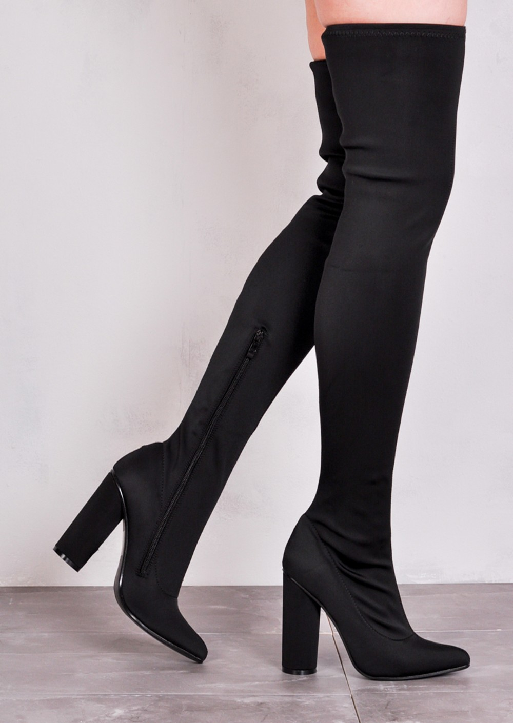Long Thigh BootsStiletto Mid Heels Over The Knee Boots Pointed Toe Stretchy Thigh High Knee High Boots