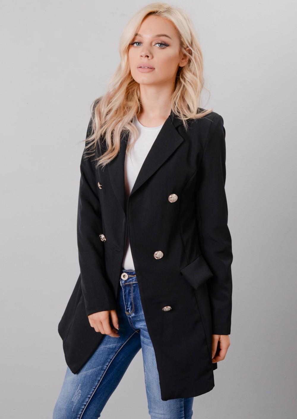 oversized longline military tailored blazer dress black. Black Bedroom Furniture Sets. Home Design Ideas