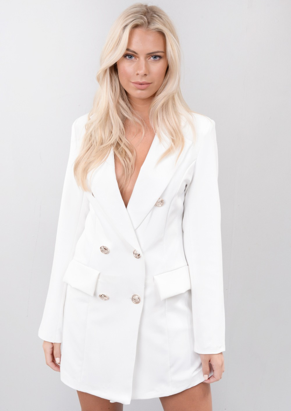 oversized longline military tailored blazer dress white. Black Bedroom Furniture Sets. Home Design Ideas