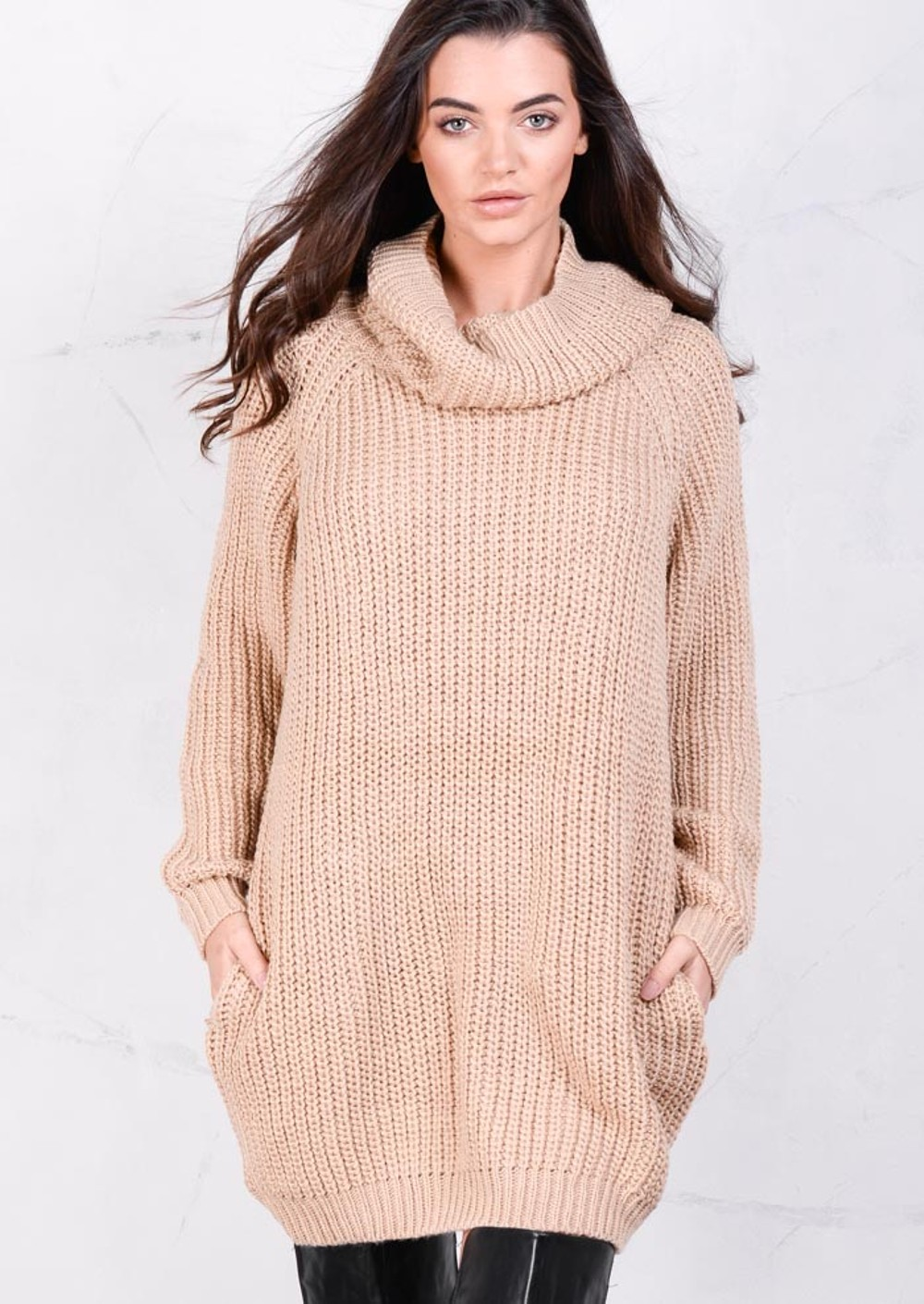 Roll Neck Chunky Knit Jumper Dress Camel