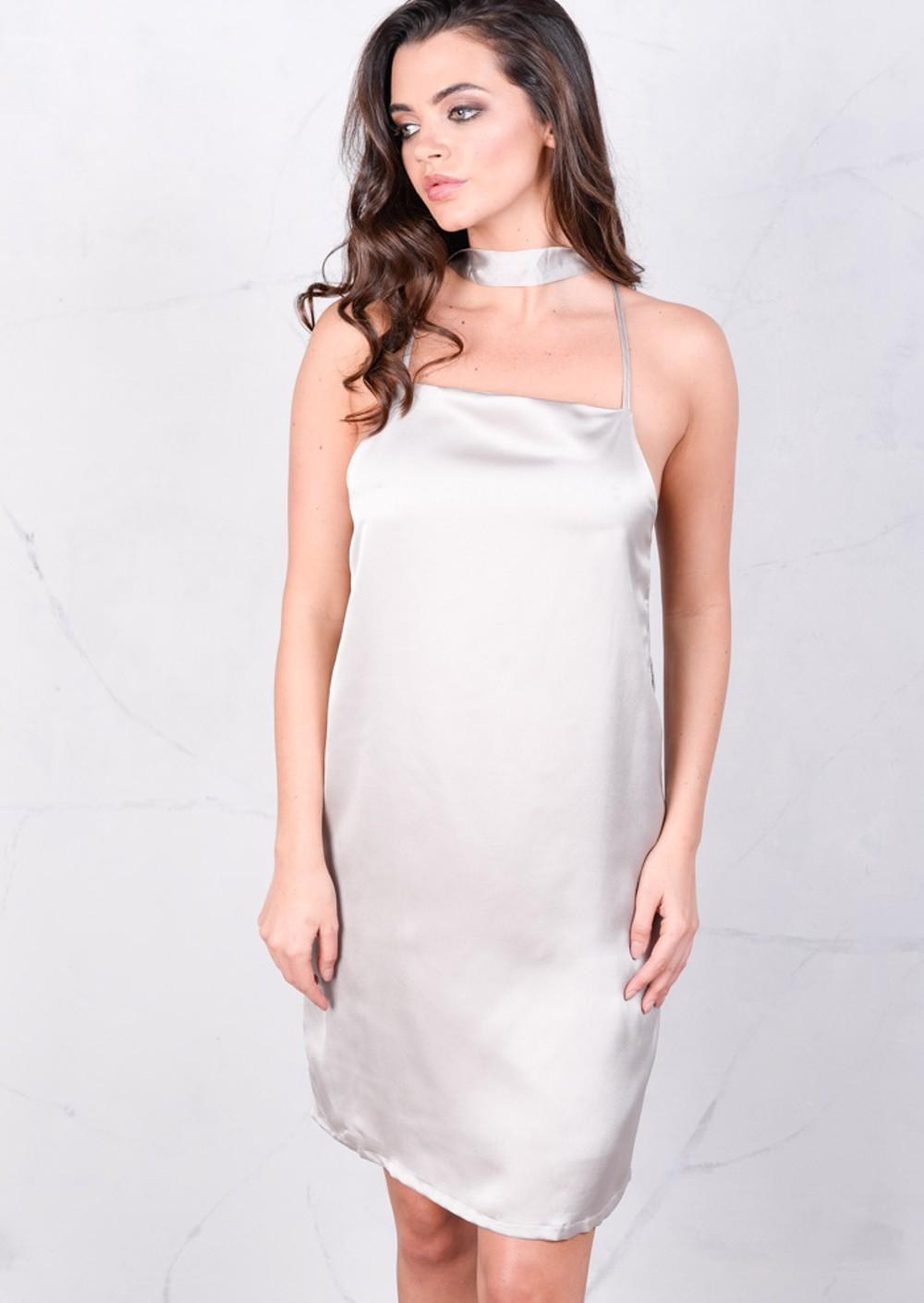 Satin Belted Metallic Silky Cami Spaghetti Strap Dress ...
