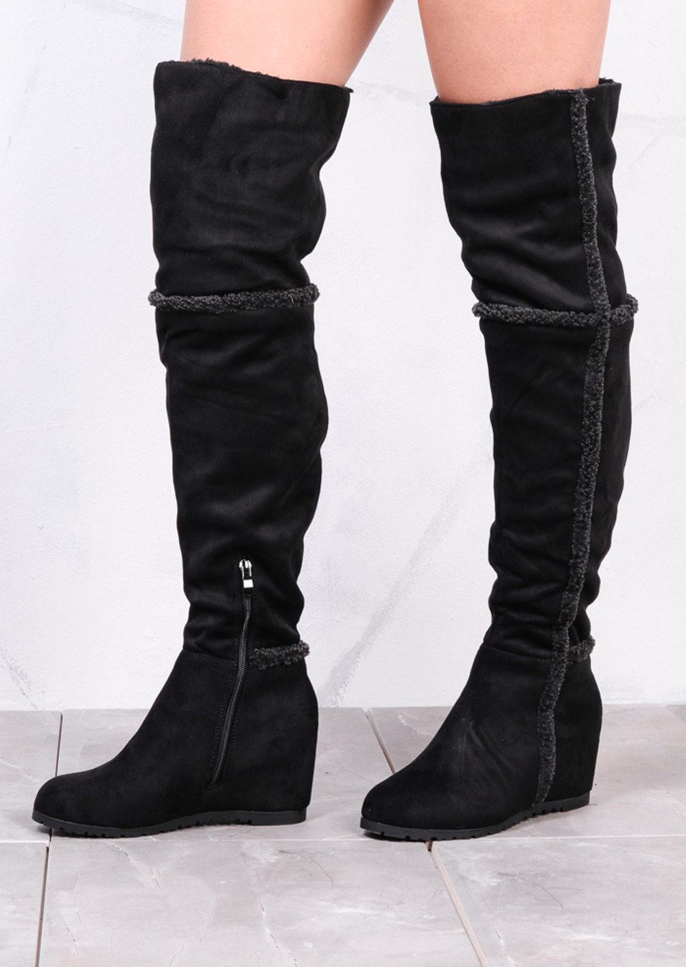 Shepha Wedge Over The Knee Foldable Long Boots Suede Black
