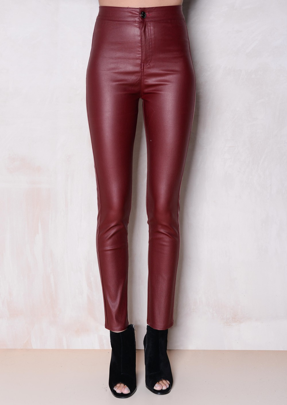 ... High Waisted Faux Leather Look Jeans Burgundy. More From - High Waisted Faux Leather Look Jeans Burgundy