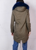 Blue Faux Fur Hooded Full Fleece Parka Coat Khaki Green