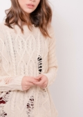 Oversized Jumper Cream Distressed Kallie | Lily Lulu Fashion