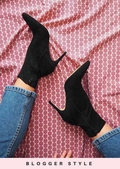 Pointed Toe Heeled Ankle Boots Faux Suede Black