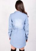 Long Sleeved Belted Button Front Demin Shirt Dress