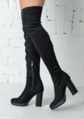 Over the Knee Thigh High Cleated Sole Faux Suede Boots Black