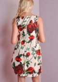 50s Rose Print Dress Cream